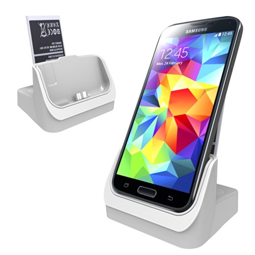 Versiontech White Desktop 3 In 1 Data Sync Charger Dock Docking Station Cradle Stand Charger + Spare Extra Battery Charger Slot For Samsung Galaxy S5 Sv I9600 (Case Adapter - Charging Your Phone With Or Without Case)