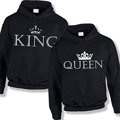 Coppia di Felpe You and Me King and Queen Nere Uomo L Donna M Girocollo