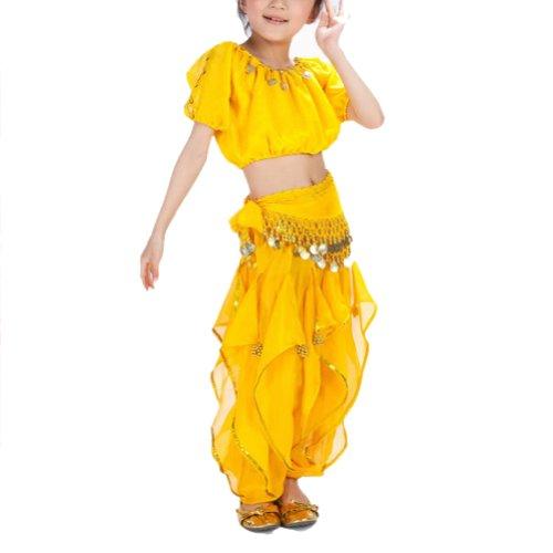 [BellyLady Kid Belly Dance Halloween Costume, Harem Pants & Short Sleeve Top Set YELLOW-S] (Good Teenage Girl Halloween Costumes)