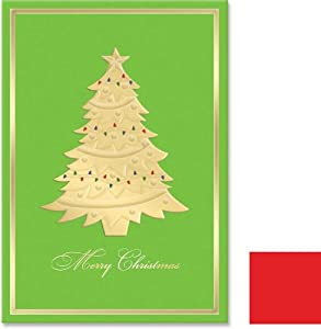 Molly & Rex Gold Foil Christmas Tree Boxed Note Cards (12 Note Cards and Envelopes)