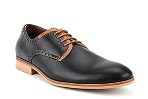 Ferro Aldo Men's 19393LE Lace Up Two Tone Round Toe Casual Oxfords Dress Shoes, Black, 9