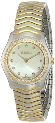 "EBEL Women's 1215271 ""Wave"" 18k Gold and Stainless Steel Diamond-Accented Watch"