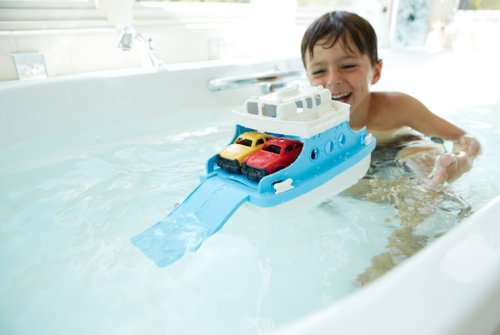 Bath Toys For Boys : Green toys ferry boat with mini cars bathtub toy blue