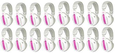 16) VM Audio SRHP9 MP3/iPhone iPod Over Head On Ear DJ Headphones - Pink/Grey