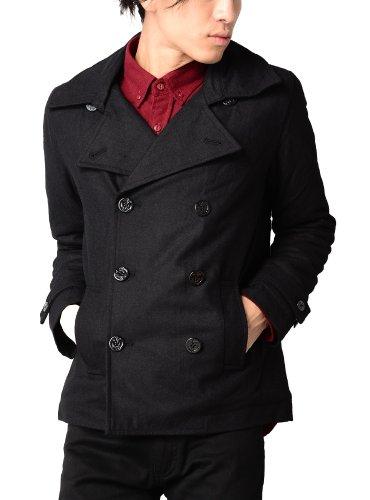メルトンジャケット メンズ Pコート Pジャケット ショート丈 606077 ブラック M