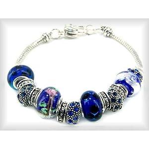 Click to buy Blue Sapphire Bracelet: Pandora Style Sapphire Blue Bracelet from Amazon!