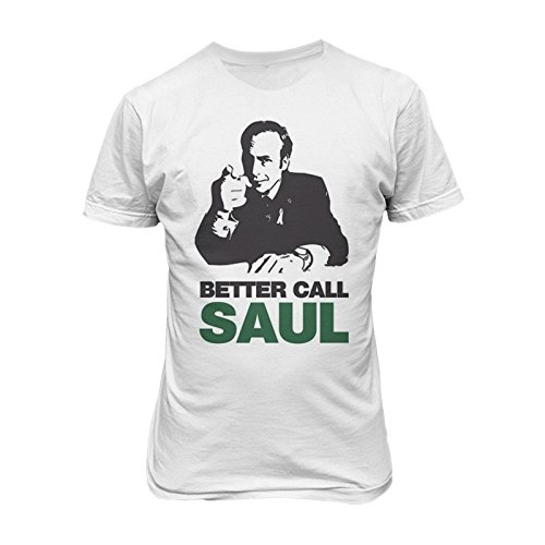T-shirt Uomo Better Call Saul - Maglietta Breaking Bad 100% cotone LaMAGLIERIA,L,Bianco