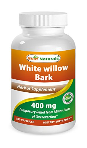 White Willow Bark 400 mg 180 Capsules by Best Naturals - Manufactured in a USA Based GMP Certified and FDA Inspected Facility and Third Party Tested