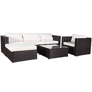 Cloud Mountain 6 Piece Outdoor Patio Garden Furniture Wicker Rattan Sectional Sofa Set, Mix Brown by Cloud Mountain
