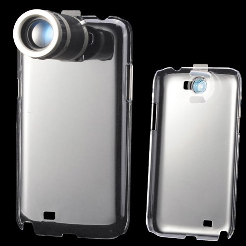 8X Zoom Lens Mobile Phone Telescope + Transparent Back Case For Galaxy Note Ii N7100 - Black