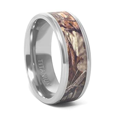 Titanium Camo Promise or Wedding Rings | Forest & Oak Leaf Camouflage Bands Sold Individually or in His & Hers Sets / Sizes | 8mm Men's & 6mm Women's
