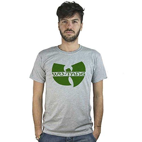 T-Shirt Wu Tang Clan, maglietta grigia con logo hip hop, musica hardcore rap