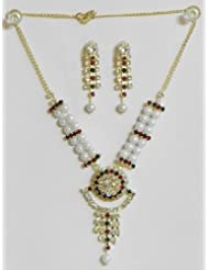 White Pearl Necklace With White, Maroon And Green Stone Studded Pendant And Earrings - Synthetic Pearl