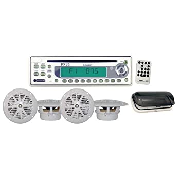"Pyle's Hydra series has the solution for your marine audio needs – this kit includes a head unit, four white 5.25"" speakers, and a splashproof tinted cover for the head unit. The head unit is capable of tuning AM/FM, playing audio and MP3 CDs, and ha..."