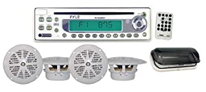 PYLE PLCD6MRKT Waterproof Marine AM FM CD Player Receiver with 4 x 5.25-Inch Speakers... by Pyle