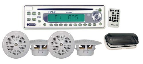 Pyle Plcd6Mrkt Waterproof Marine Am/Fm/Cd Player Receiver With 4 X 5.25-Inch Speakers And Splash-Proof Radio Cover (White)