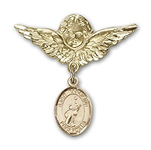 14K Gold Baby Badge with St. Tarcisius Charm and Angel with Wings Badge Pin