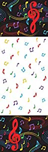 """Creative Converting 725816 Dancing Music Notes Plastic Tablecover, 54 by 108"""", Black/White/Red"""