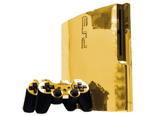 Sony PlayStation 3 Slim Skin (PS3 Slim) – NEW – GOLD CHROME MIRROR system skins faceplate decal mod