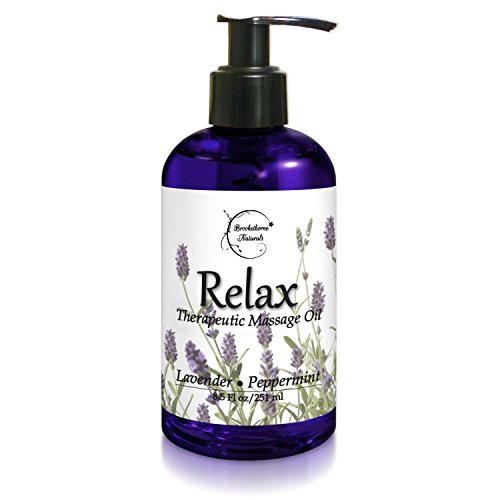 Relax Therapeutic Body Massage Oil - Contains Best Essential Oils for Sore Muscles & Stiffness - Lavender, Peppermint & Marjoram - All Natural - With Sweet Almond, Grapeseed & Jojoba Oil 8.5oz