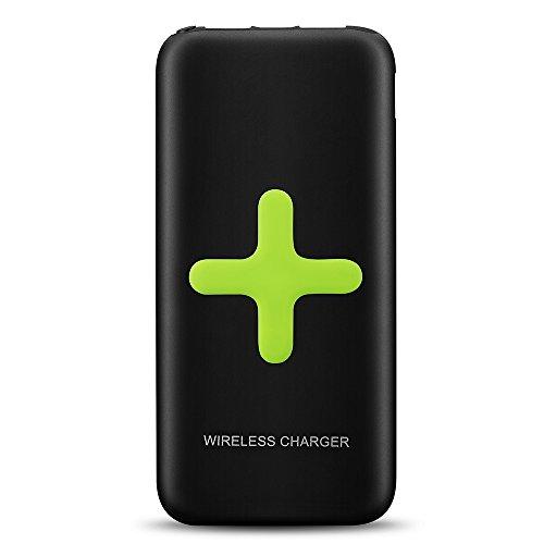 Qtuo 大容量7000mAh 2-in-1 ワイヤレス モバイルバッテリー 2 USBポート付き 急速充電可能 無線と有線充電両用 「Qi」基準 Galaxy S6/S6 Edge/6S Edge+,Nexus 4/5/6/7,HTC 8X,G2/3/4,Lumia 920/930/1520,Xperia Z3v/Z4v対応 ブラック