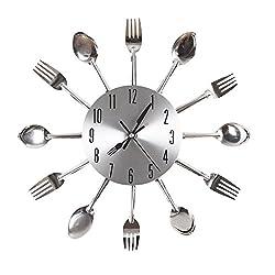 OFKP® Cutlery Kitchen Wall Clock Fork & Spoon Decorative Wall Clock Creative Clock