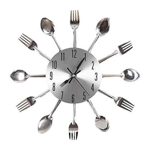 ... Aluminium Löffel Gabel Besteck Clock Küche Wanduhr (Silber