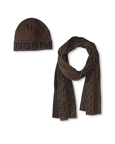 Fendi Women's Scarf & Hat Set, Brown