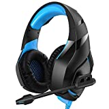 RUNMUS Gaming Headset PS4 Headset with 7.1 Surround Sound Stereo, Xbox One Headset with Noise Canceling Mic, Compatible with PC, PS4, Xbox One Controller(Adapter Needed), NS (Color: Blue)
