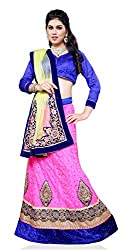 Jiya Presents Embroidered Net Lehenga Choli(Pink,Blue)