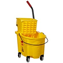 "Rubbermaid FG748018 WaveBrake Side Press Combo Mopping System 26 qt Capacity, 18.6"" Length x 15.6"" Width x 16.7"" Height, Yellow"