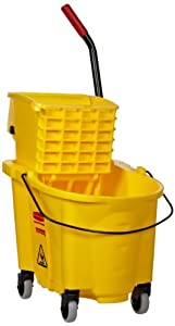 Rubbermaid 748018YW Wavebrake 26-Quart Side Press Mop Bucket & Wringer Combo, Yellow