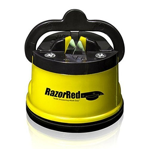 Razor Red Knife Sharpener-Sharpen Kitchen Knives & Serrated Knives Quickly, Even Blender Blades, Long Lasting Tough Tungsten Carbide Steel, Yellow