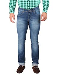 Oxemberg Men's Slim Fit Denim (DL6599_MID BLUE_38)