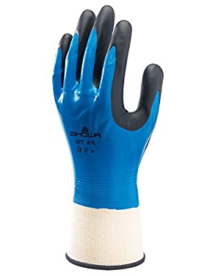 SHOWA 845-377L-08 377 Nitrile Foam Coating on Nitrile Glove with Polyester/Nylon Knit Liner,Blue , Large (Pack of 12 Pairs) (Color: Blue, Tamaño: Large)