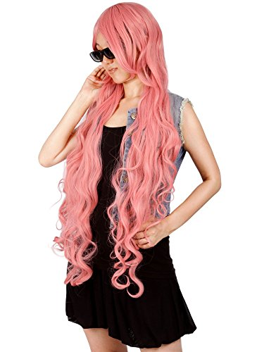 "Simplicity 40"" Anime Costume Long Curly Pink Hair Cosplay Wig Wigs"