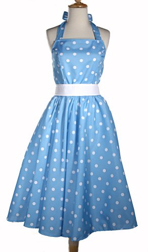 Hey Viv ! 50s Retro Style Halter Dress - Bluebell Polka Dots