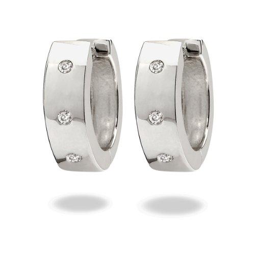 Rafaela Donata Glamour Collection Damen-Klappcreolen 925 Sterling Silber Zirkonia weiß  60832004