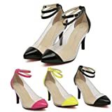 Zehui Women Pointy Toe Transparent Pump Strap Stiletto Strappy Sandals High Heel Shoes
