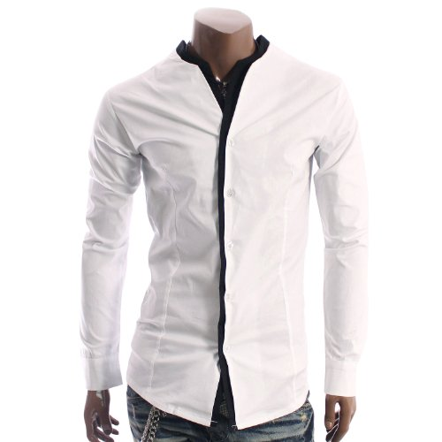 Mens Casual No Collar Layered Slim Dress Shirts WHITE(2M)