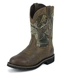 Justin Original Work Boots Men\'s Stampede Camo WaterProof Wk Work Boot,Rugged Tan/Real Tree Camo,12 D US