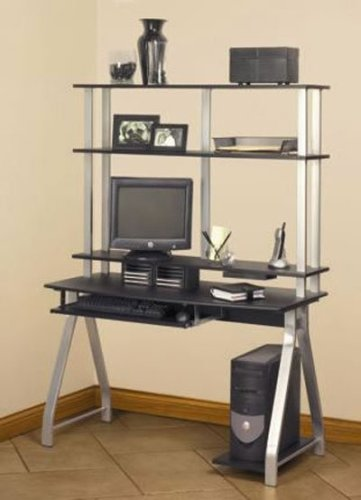 Computer Desk with Hutch- Black/ Silver