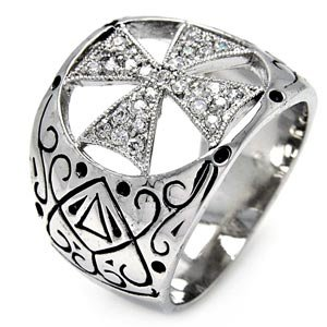 Brass Cubic Zirconia Cross Antique Design Right Hand Ring - Width (17.7mm) - Rhodium Plated