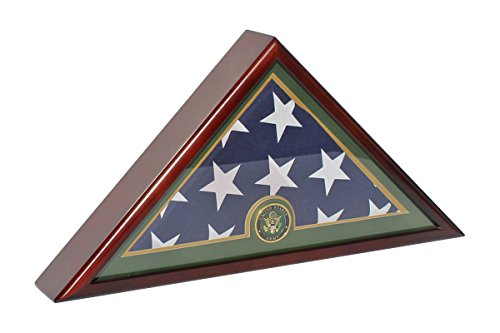 Army Memorial Burial Funeral Flag Display Case for Flag 5x9.5' Folded - Mahogany Finish FC59-MAH (Flag Display Case Army compare prices)