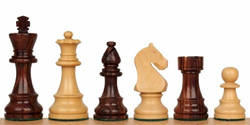 "King's Guard Staunton Chess Set in Rosewood & Boxwood - 3.25"" King"