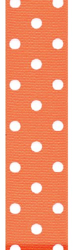 Offray Polka Dot Grosgrain Craft Ribbon, 1-1/2-Inch Wide by 50-Yard Spool, Bright Orange