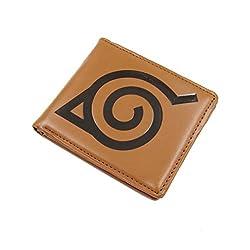 Naruto Konoha Ninja Village Bifold Wallet (Reddish Brown)