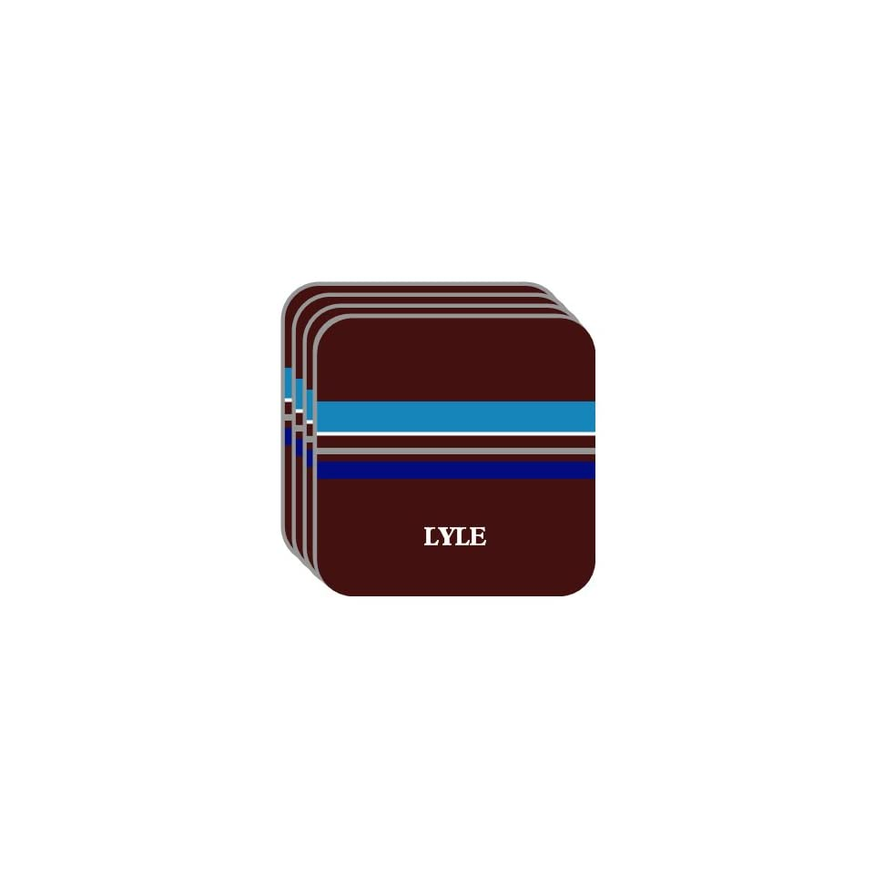 Personal Name Gift   LYLE Set of 4 Mini Mousepad Coasters (blue design)