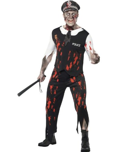 Smiffy's Men's Zombie Policeman Costume Top with Tie, Latex Trousers and Hat