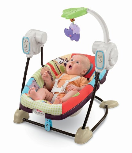 Fantastic Deal! Fisher-Price Space Saver Swing and Seat, Luv U Zoo
